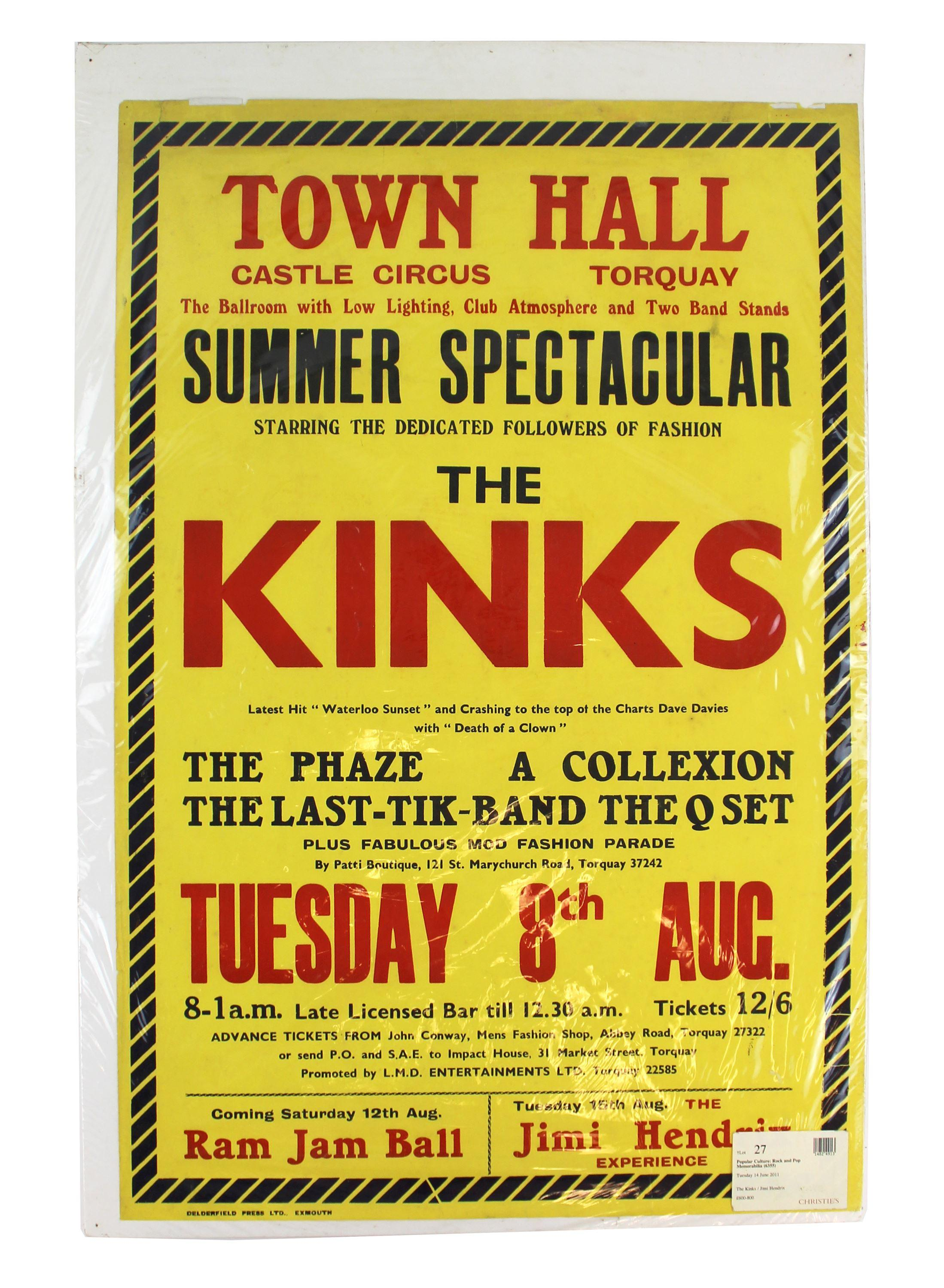 Jimi Hendrix and The Kinks Play at the Same Venue - Promotional Poster