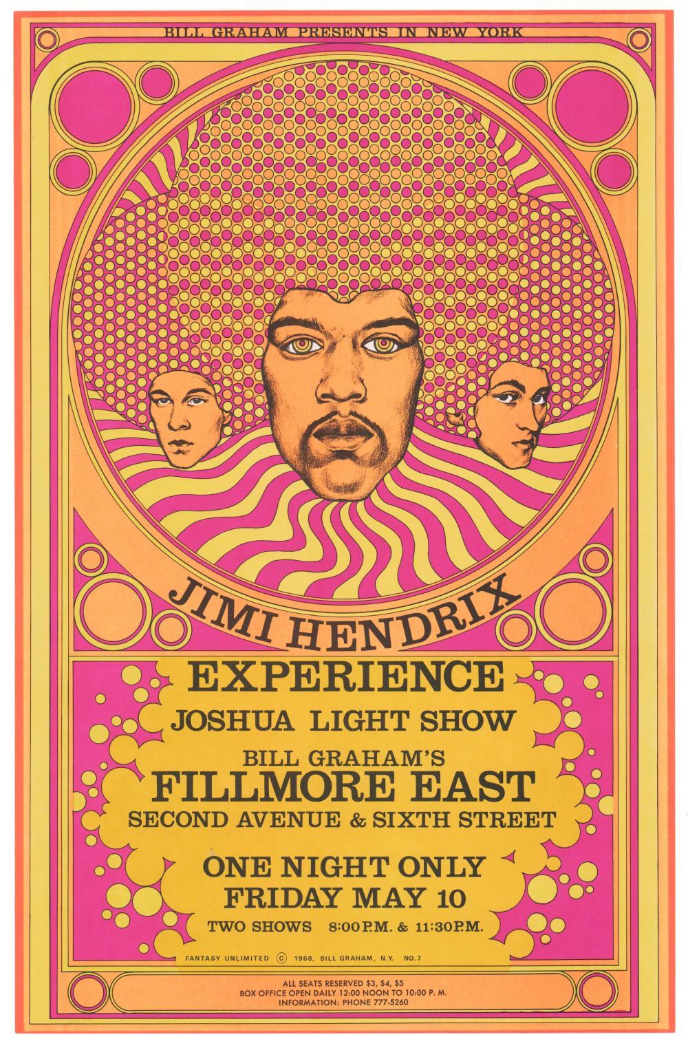 Jimi Hendrix 1968 Fillmore East Concert Poster, Fine Condition, Fantastic!