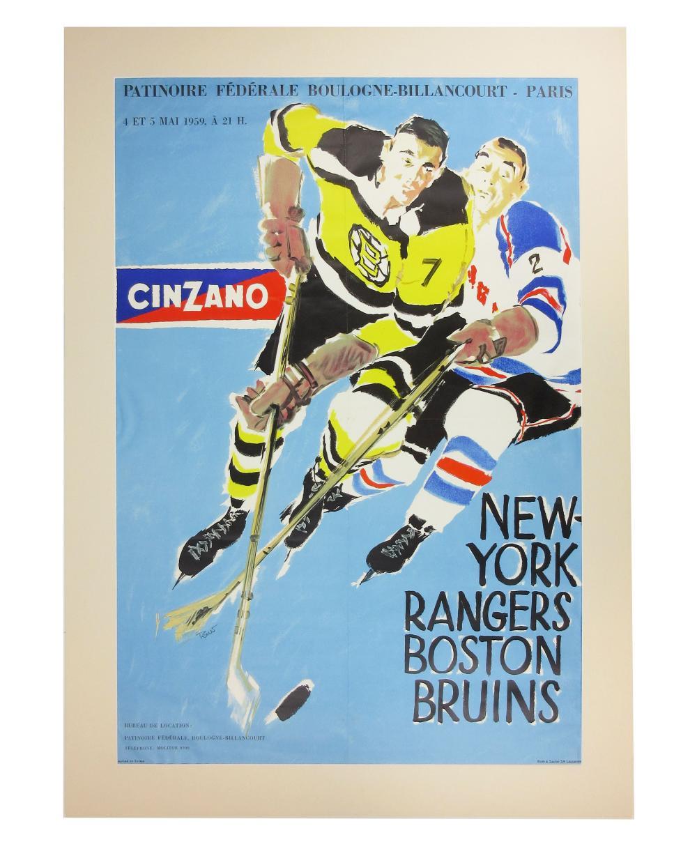 New York Rangers vs. Boston Bruins 1959 Cinzano European Tour Poster