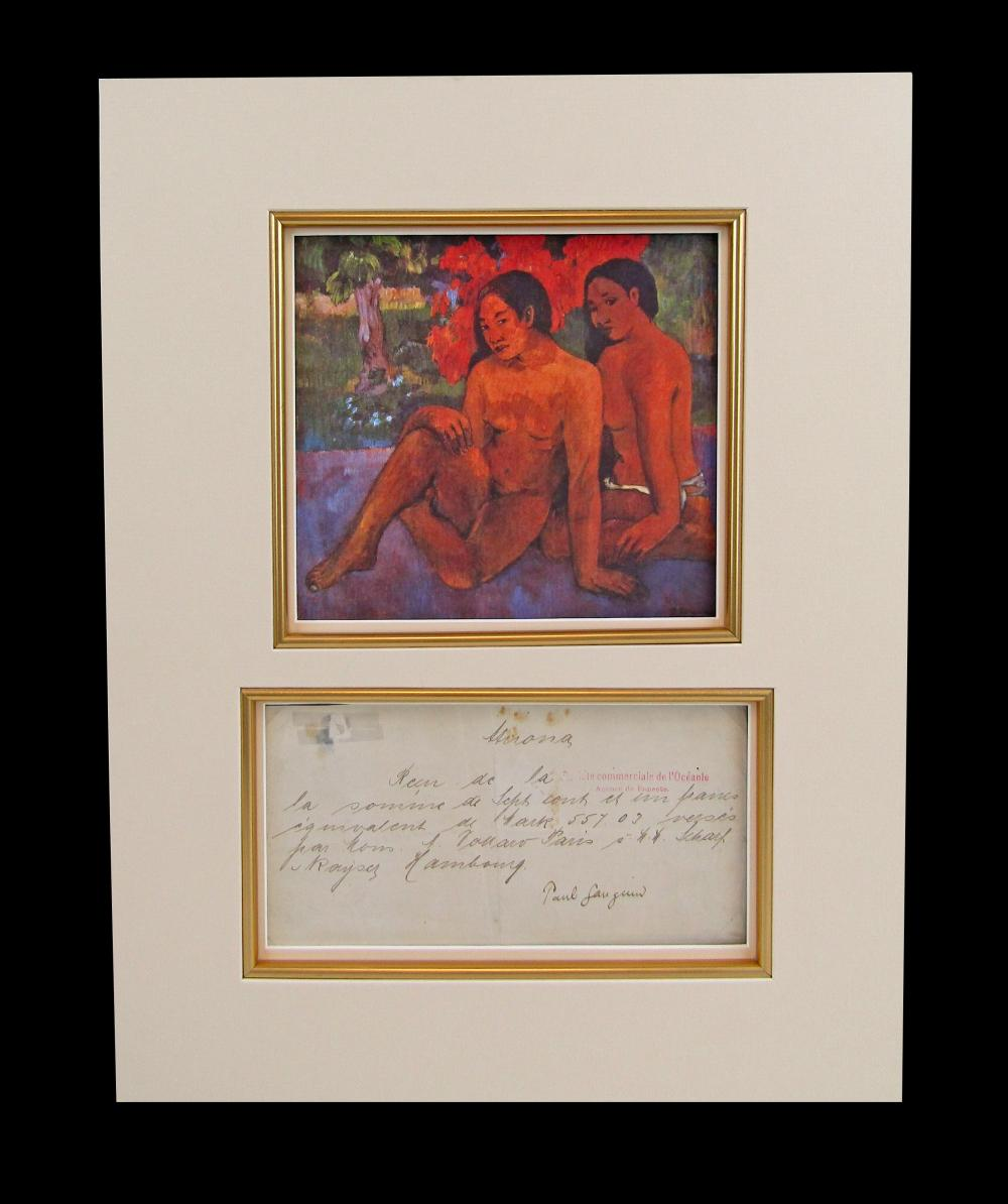 """Paul Gauguin DS Re: Payment from Vollard Perhaps for his Masterpiece """"And the Gold of Their Bodies"""" Dating from the Last Two Years Before His Death on the Marquesas Islands"""