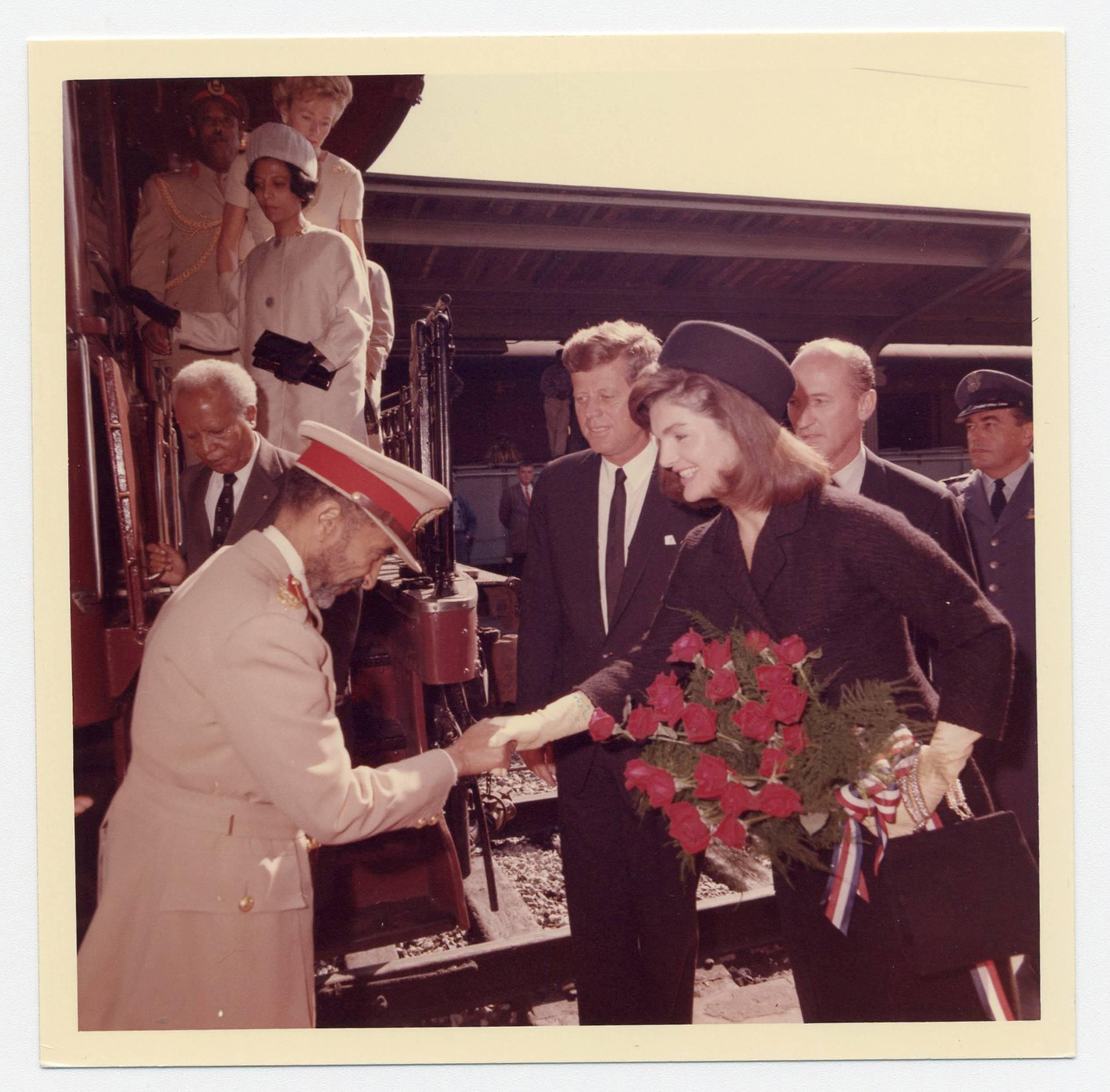 John F. Kennedy & Jackie Kennedy Greet Ethiopian Emperor, Vintage Photo from Cecil Stoughton's Personal Collection