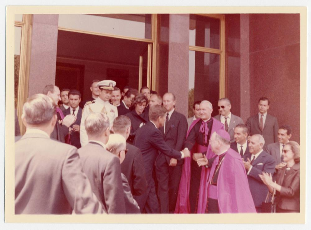 John F. Kennedy Meets with R.C. Clergy on his Last Trip to the Eternal City, Vintage Photo from Cecil Stoughton's Personal Collection