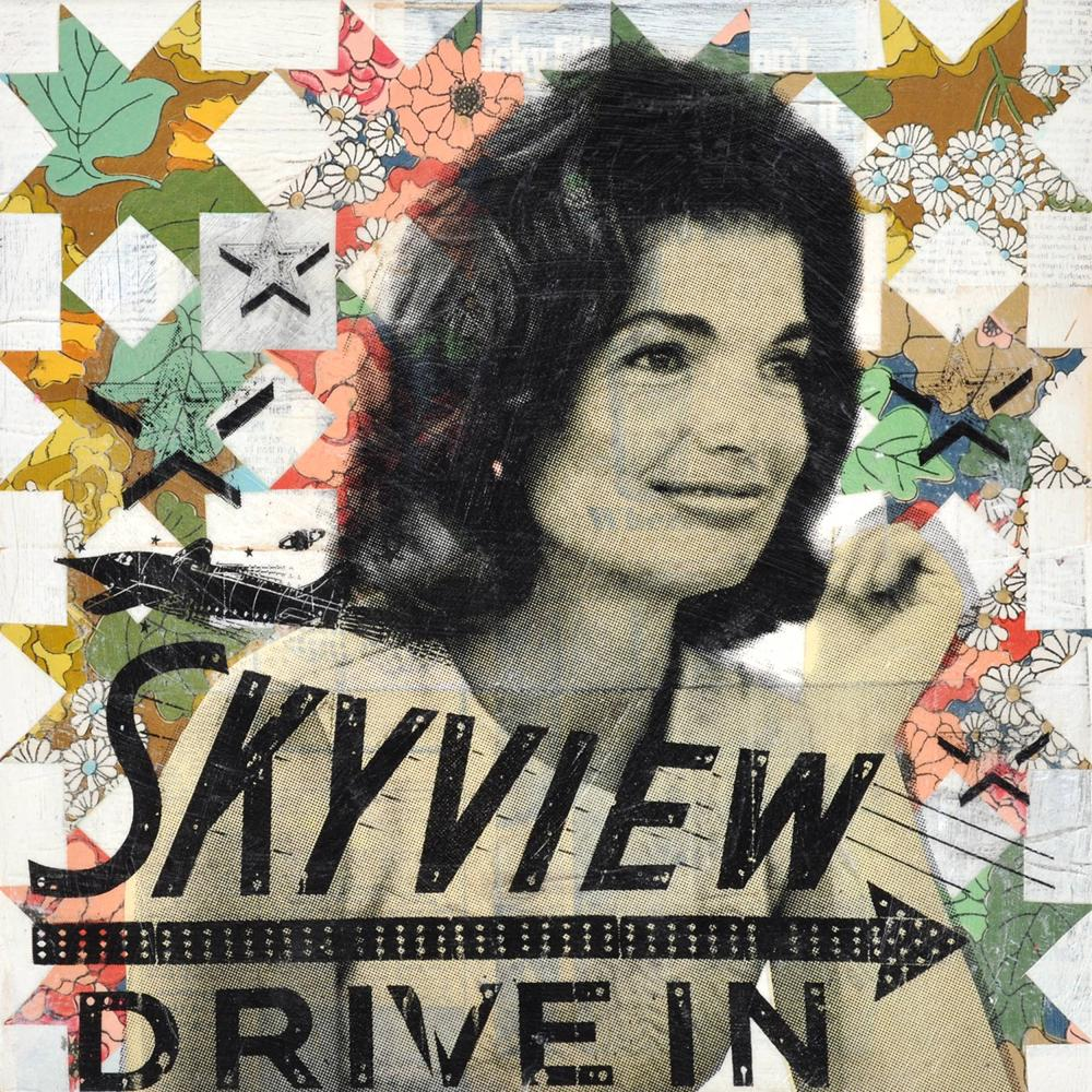 """Jackie's Skyview Drive In"", Original Mixed Media Painting by Contemporary Fine Artist Robert Mars"