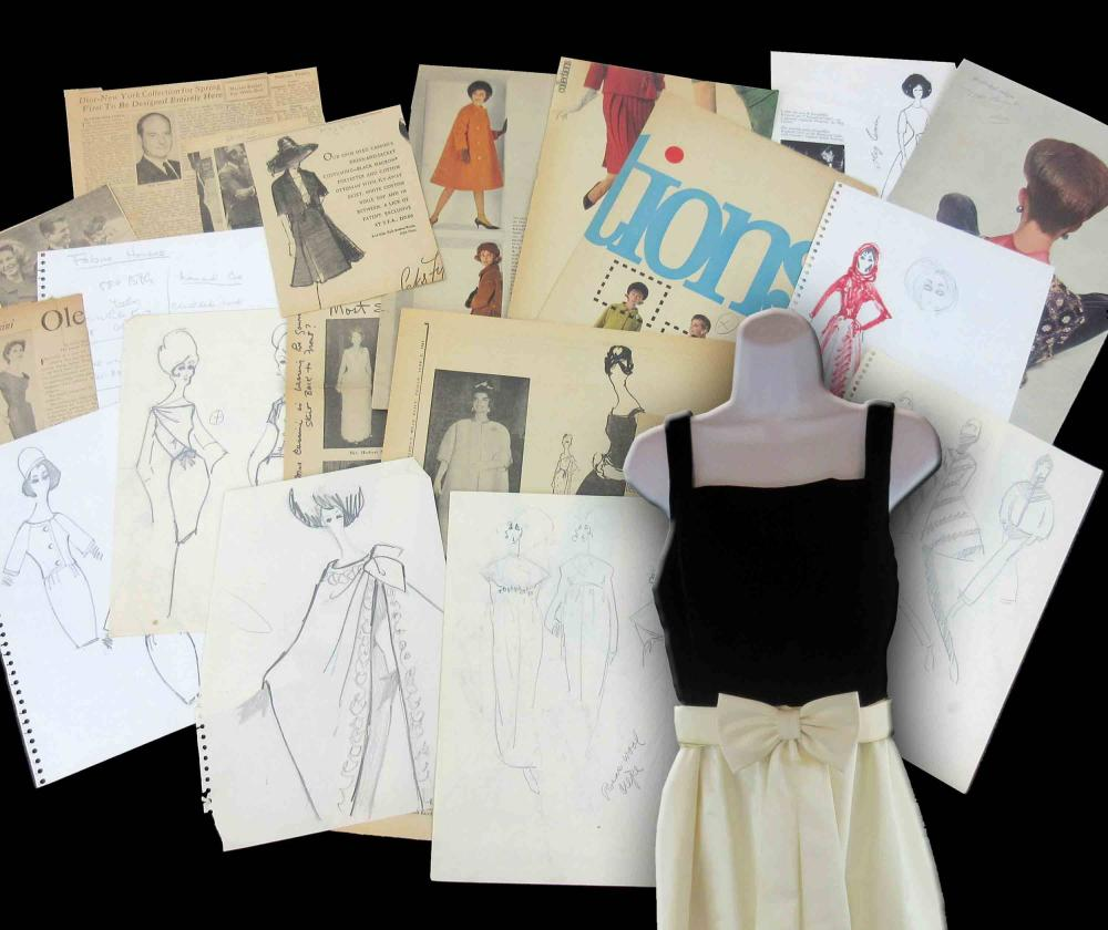 Jacqueline Kennedy Archive, Featuring Oleg Cassini Owned Dress After Original First Lady Design, Vintage Couture Sketches & Annotated Period Fashion Magazine Pages