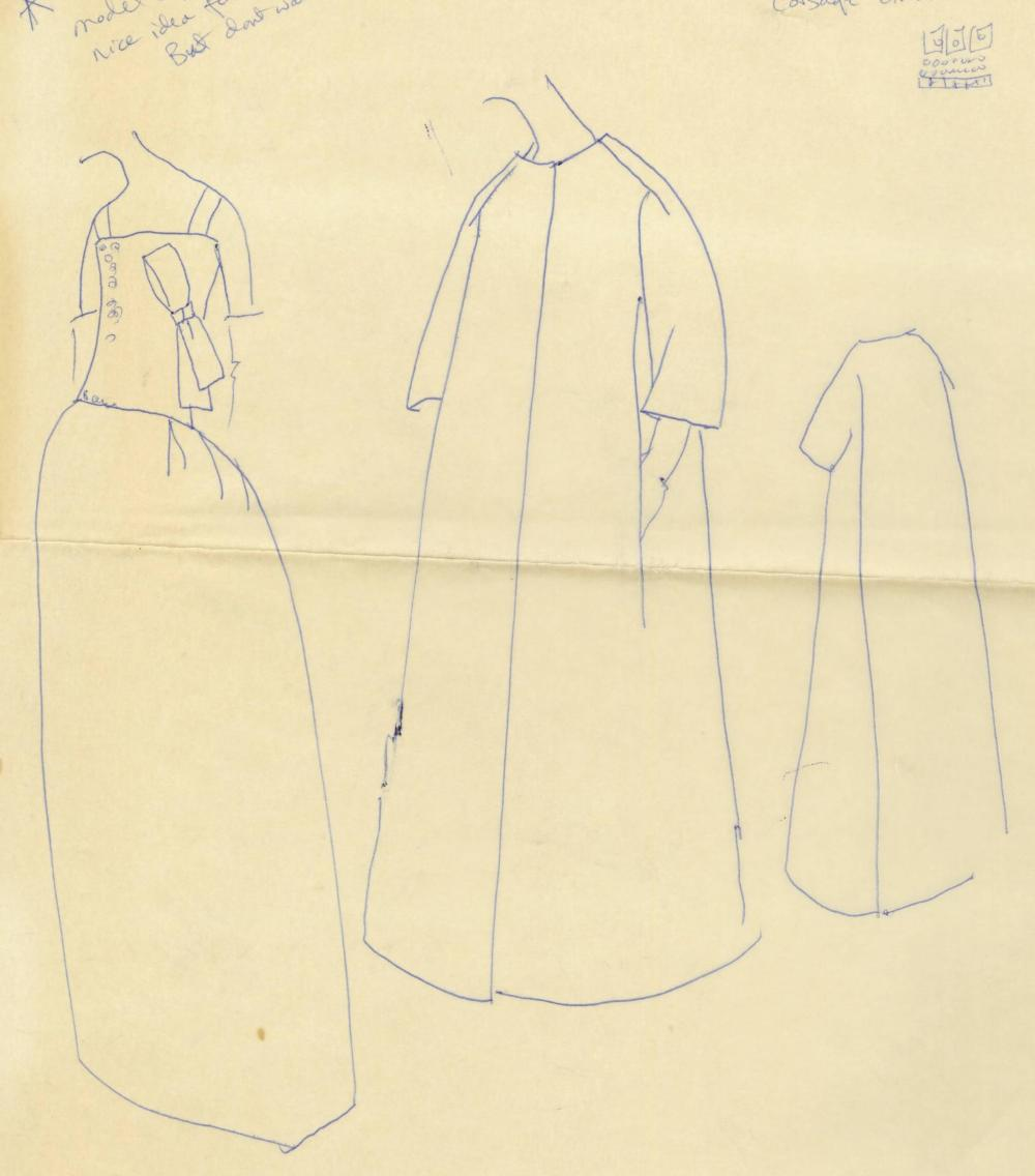 Jackie Kennedy's Own Annotated Fashion Sketch Submitted to Oleg Cassini