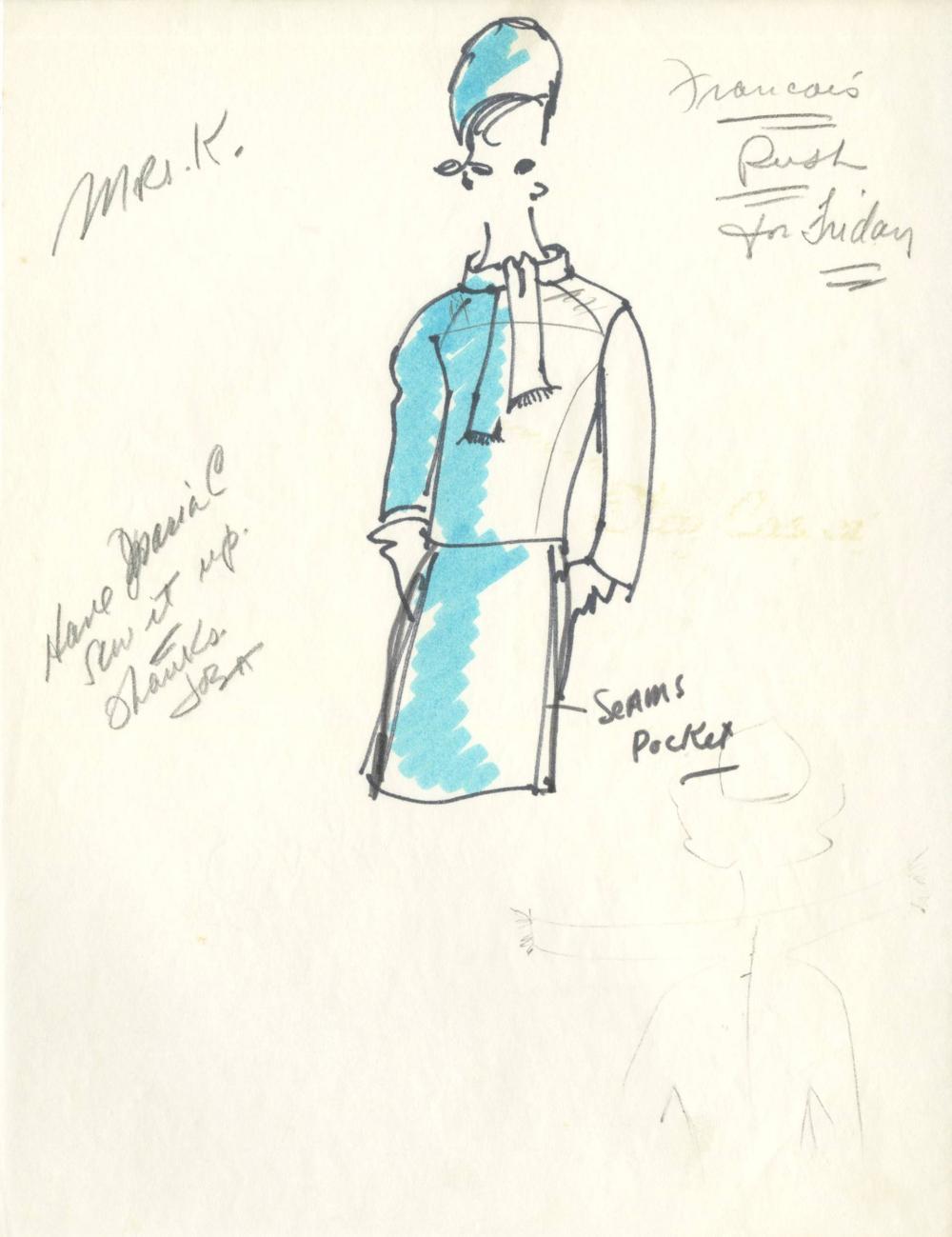 Jackie Kennedy's Oleg Cassini Designed Blue Suit, Original Fashion Sketch