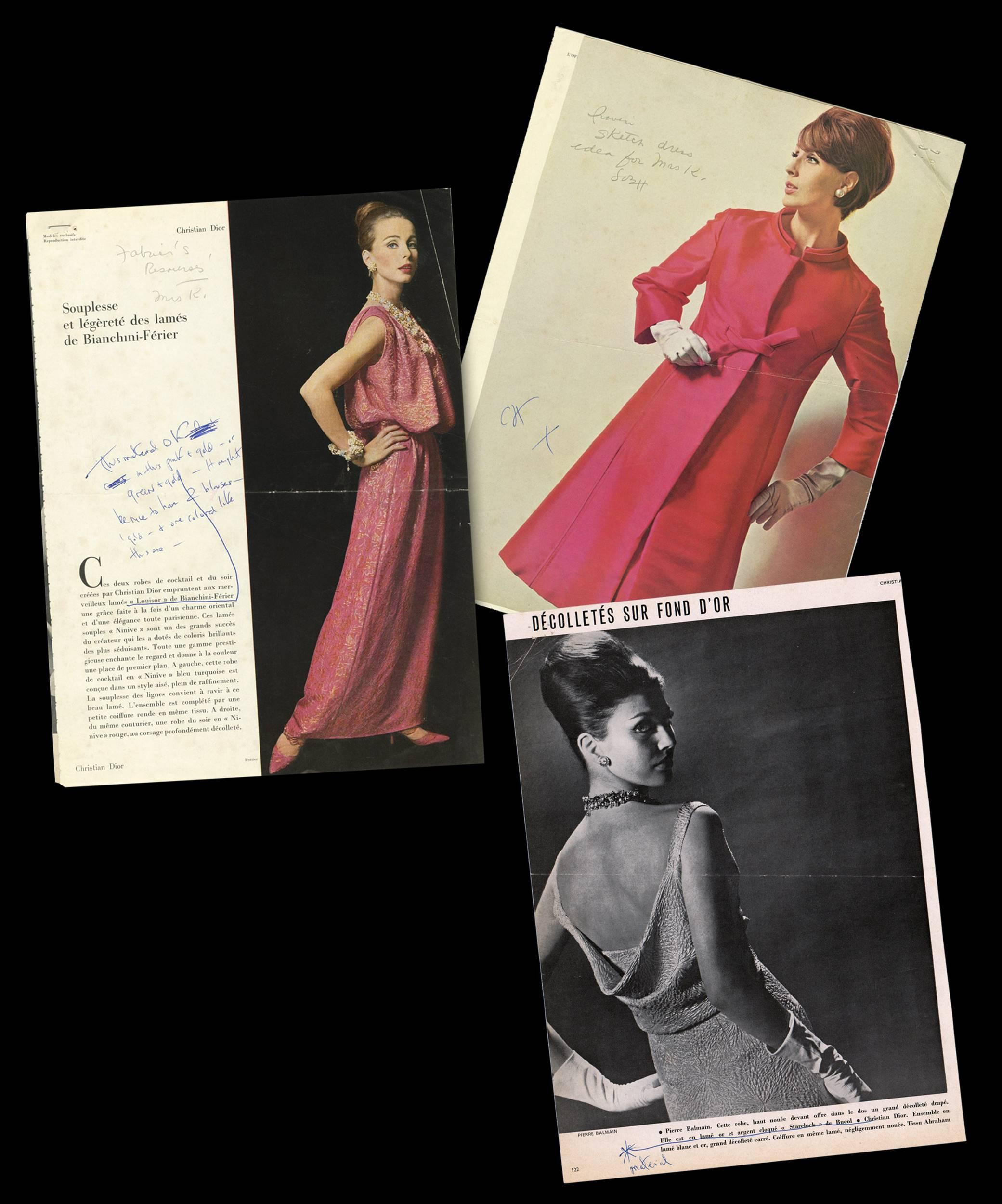 Jackie Kennedy's Notes on Contemporary French Designs, to Inspire Future Oleg Cassini Designs