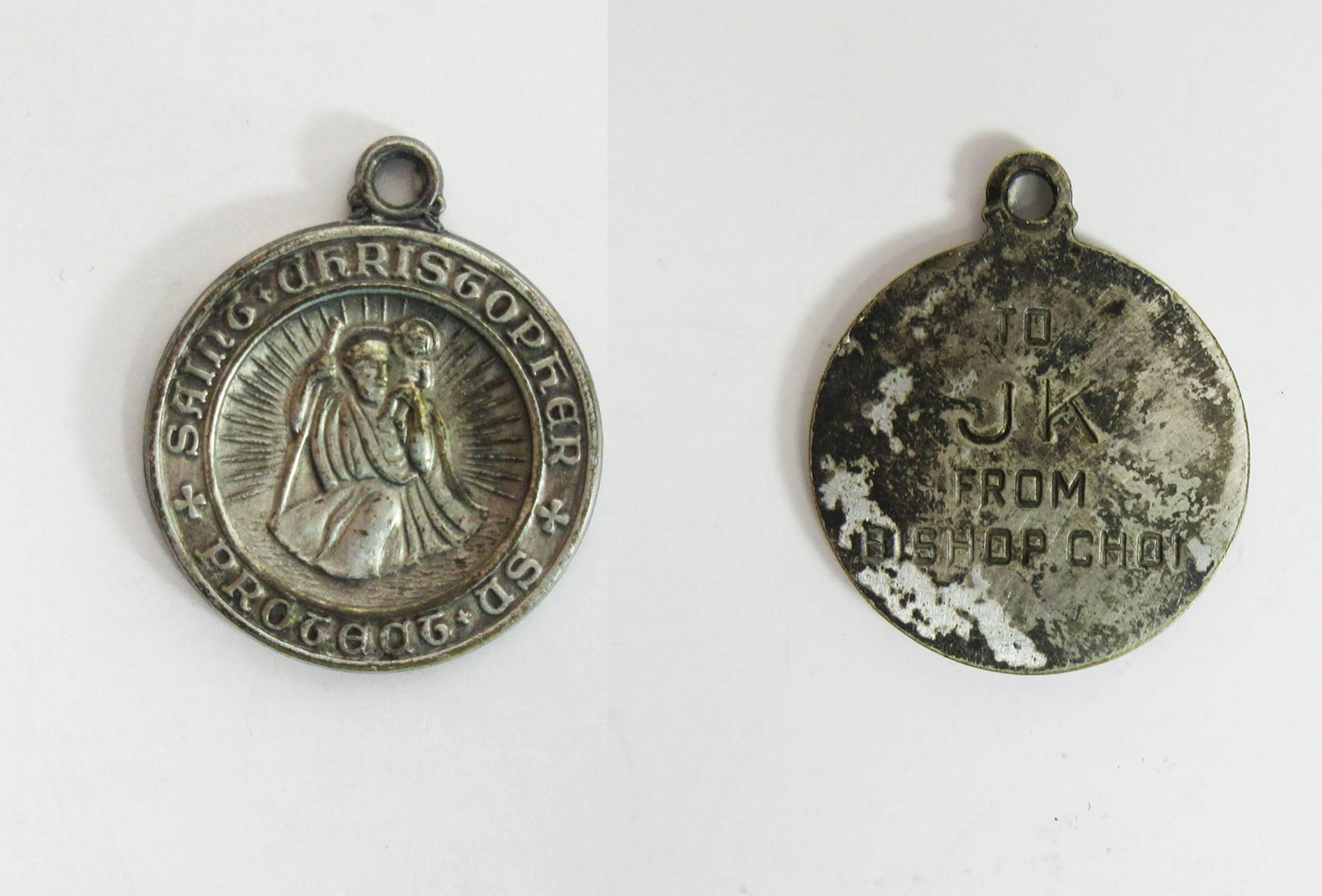 John F. Kennedy, the First Catholic President: Personally-Owned St. Christopher Medallion Given to Him While President only Months Before His Assassination. Fantastic provenance!