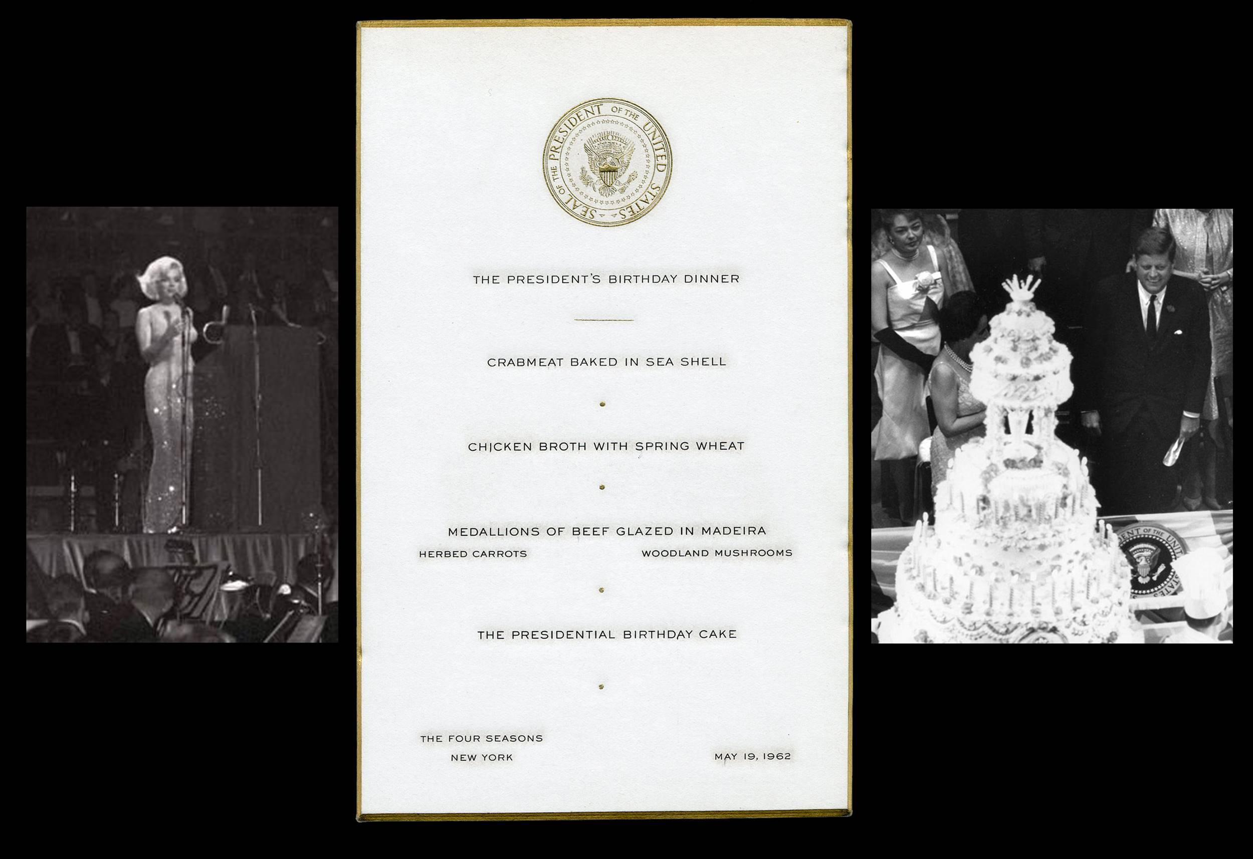 """JFK Birthday Dinner Menu -- Later that Night, Marilyn Serenaded him with """"Happy Birthday, Mr. President""""-- the Only We've Ever Seen!"""