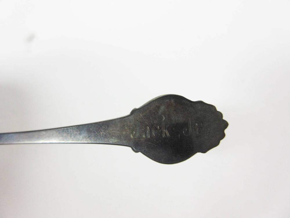 JFK, Jr. Sterling Silver Engraved Baby Spoon Given to Jacqueline & President Kennedy Commemorating the Birth of Their Son