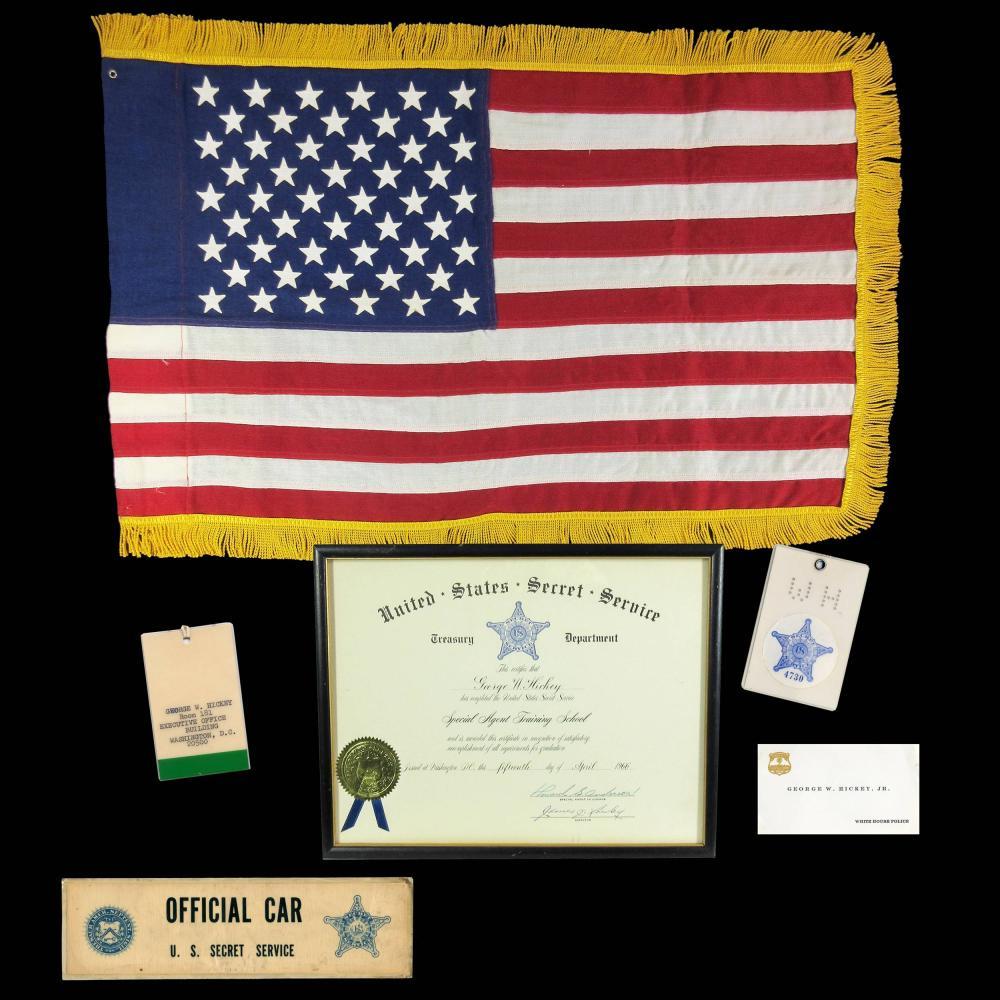 John F. Kennedy Assassination Presidential Limousine American Flag