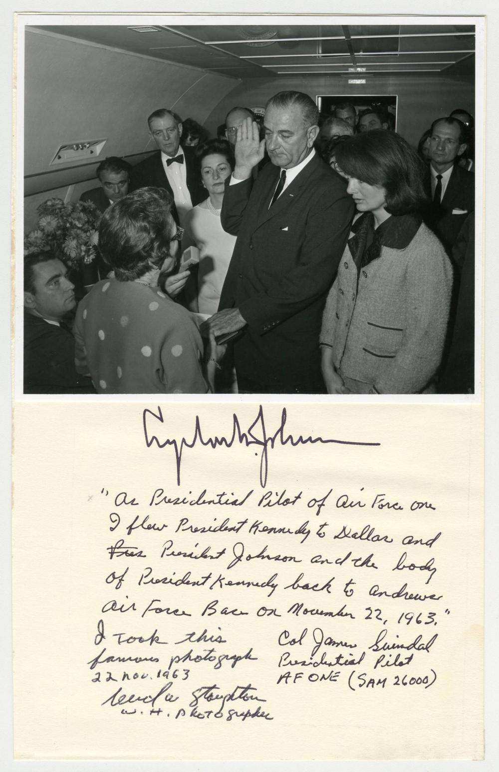 LBJ Swearing-In, Original Photo Signed by New President, Photographer, & Air Force One Pilot!