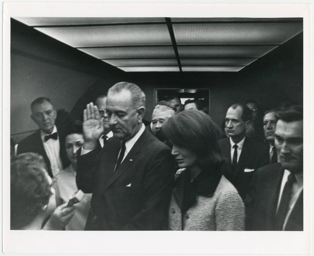 JFK Assassinated - Successor LBJ Swearing-In Ceremony Aboard Air Force One, Original Photo Taken & Owned by Cecil Stoughton