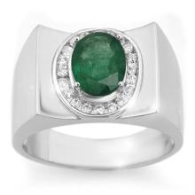 2.33 CTW Emerald & Diamond Men's Ring 10K White Gold - REF-58X5T - 14476