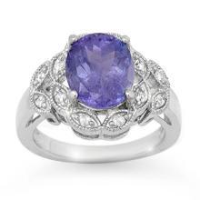 4.25 CTW Tanzanite & Diamond Ring 10K White Gold - REF-110K8W - 14511