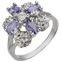 0.83 CTW Tanzanite & Diamond Ring 10K White Gold - REF-31W3F - 10824