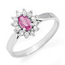 0.83 CTW Pink Sapphire & Diamond Ring 18K White Gold - REF-38H9A - 13865