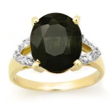 5.30 CTW Blue Sapphire & Diamond Ring 10K Yellow Gold - REF-40T4M - 12880