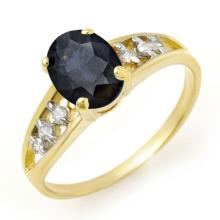 Natural 1.60 ctw Blue Sapphire & Diamond Ring 10K Yellow Gold - 13726-#15W5K