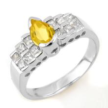 Natural 1.50 ctw Yellow Sapphire & Diamond Ring 14K White Gold - 14376-#60X5Y