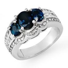 Genuine 3.50 ctw Blue Sapphire & Diamond Ring 14K White Gold - 13931-#101N2F