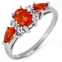 Natural 1.33 ctw Orange Sapphire & Diamond Ring 10K White Gold - 11292-#17F8M