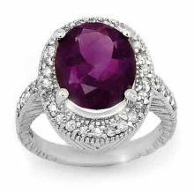 Natural 5.50 ctw Amethyst & Diamond Ring 14K White Gold - 13980-#69T7Z