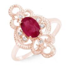 Genuine 1.35 ctw Ruby & Diamond Ring 10K Rose Gold - 12487-#17T3Z