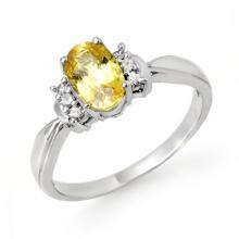 Natural 1.40 ctw Yellow Sapphire & Diamond Ring 14K White Gold - 14072-#29W5K