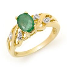 Natural 0.82 ctw Emerald & Diamond Ring 10K Yellow Gold - 12898-#14K8T