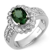 Genuine 2.35 ctw Green Tourmaline & Diamond Ring 18K White Gold - 10857-#102P2X
