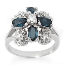 Genuine 1.33 ctw Blue Sapphire & Diamond Ring 14K White Gold - 10817-#40N3F