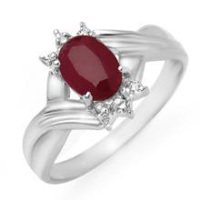 Genuine 1.12 ctw Ruby & Diamond Ring 18K White Gold - 14189-#28F5M