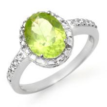 Genuine 2.10 ctw Peridot & Diamond Ring 10K White Gold - 13467-#19X2Y