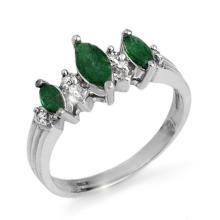 Genuine 1.0 ctw Emerald & Diamond Ring 10K White Gold - 12837-#21P3X