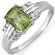 Natural 1.41 ctw Green Tourmaline & Diamond Ring 18K White Gold - 10520-#37H2W