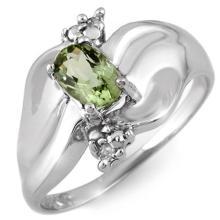 Genuine 0.54 ctw Green Tourmaline & Diamond Ring 10K White Gold - 11237-#19G2R