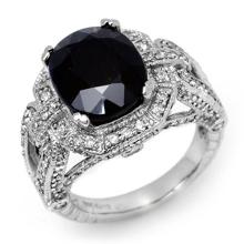 Natural 8.50 ctw Blue Sapphire & Diamond Ring 14K White Gold - 11898-#160A5N