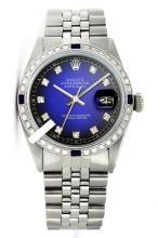 Rolex Men's Stainless Steel, QuickSet, Diam Dial & Diam/Sapphire Bezel - REF#425R5X