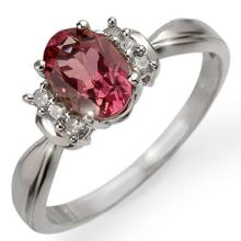 Genuine 1.06 ctw Pink Tourmaline & Diamond Ring 18K White Gold - 11221-#34A3N