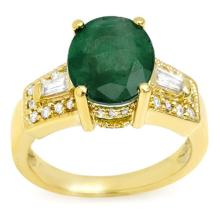 Natural 4.55 ctw Emerald & Diamond Ring 10K Yellow Gold - 10956-#58X3Y
