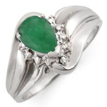 Natural 0.62 ctw Emerald & Diamond Ring 18K White Gold - 10746-#33Y7V