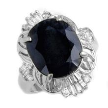 Genuine 8.07 ctw Blue Sapphire & Diamond Ring 14K White Gold - 12683-#61H5W