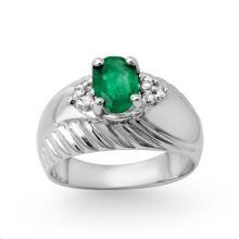 Natural 1.62 ctw Emerald & Diamond Ring 10K White Gold - 13882-#32F2M