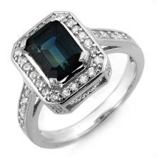 Genuine 3.0 ctw Blue Sapphire & Diamond Ring 18K White Gold - 10157-#86K3T