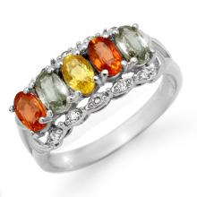 Genuine 2.0 ctw Multi-Sapphire & Diamond Ring 10K White Gold - 13755-#27Y2V