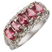 Natural 1.15 ctw Pink Tourmaline & Diamond Ring 10K White Gold - 10772-#22Z5P