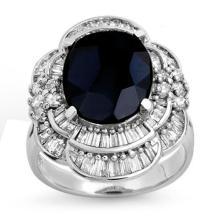 Genuine 7.85 ctw Blue Sapphire & Diamond Ring 18K White Gold - 13077-#142R3H