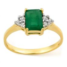 Natural 1.12 ctw Emerald & Diamond Ring 10K Yellow Gold - 11340-#15X8Y