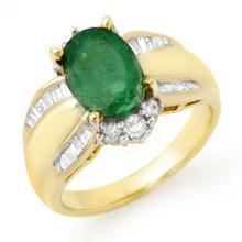 Genuine 2.87 ctw Emerald & Diamond Ring 14K Yellow Gold - 12939-#79P5X